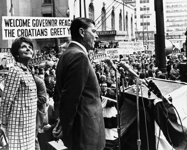 Reagan y su mujer en Cleveland en 1968, / GETTY