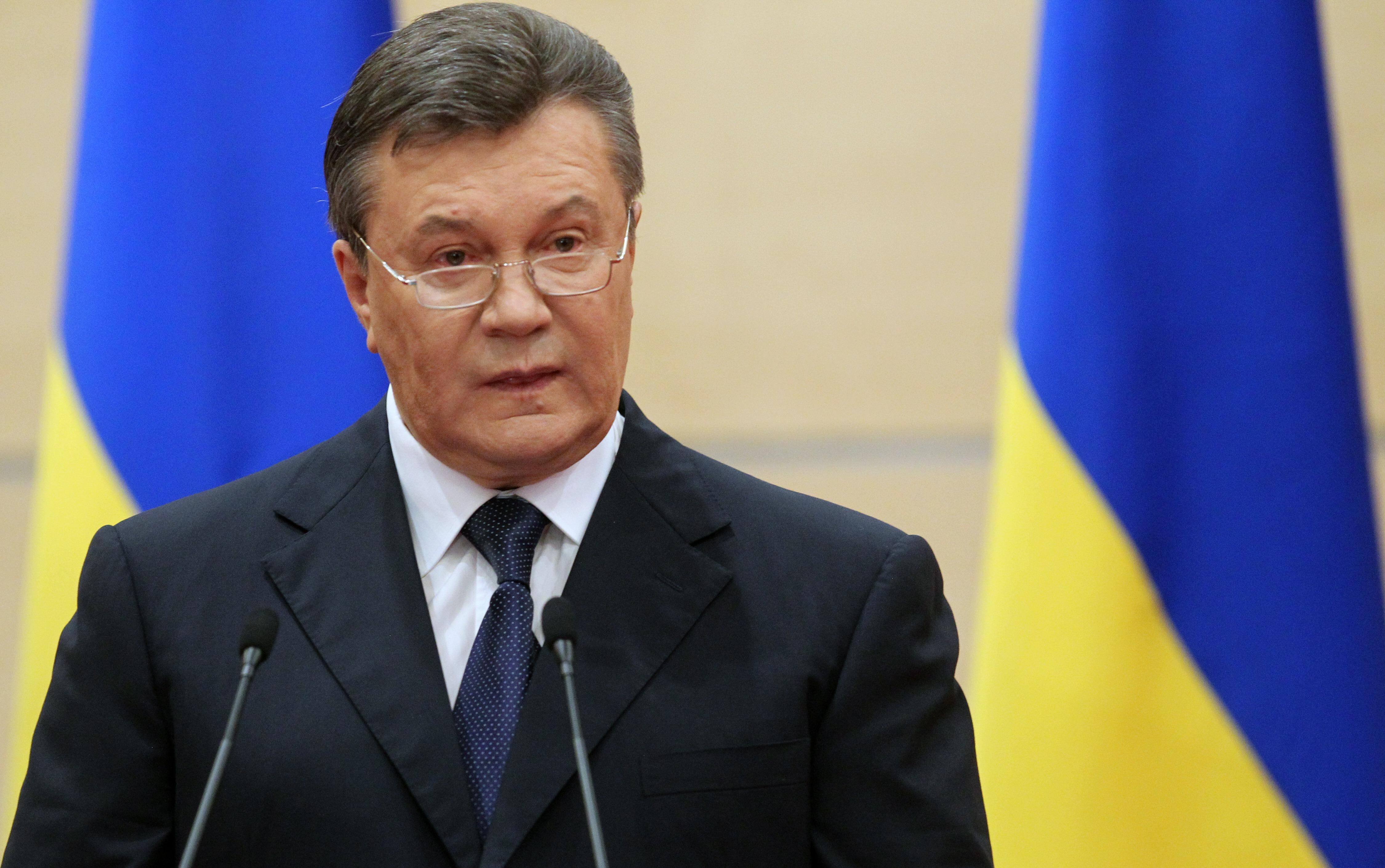 El derrocado presidente Viktor Yanukovych habla en la localidad rusa de Rostov-on-Don./ Sasha Mordovets/Getty