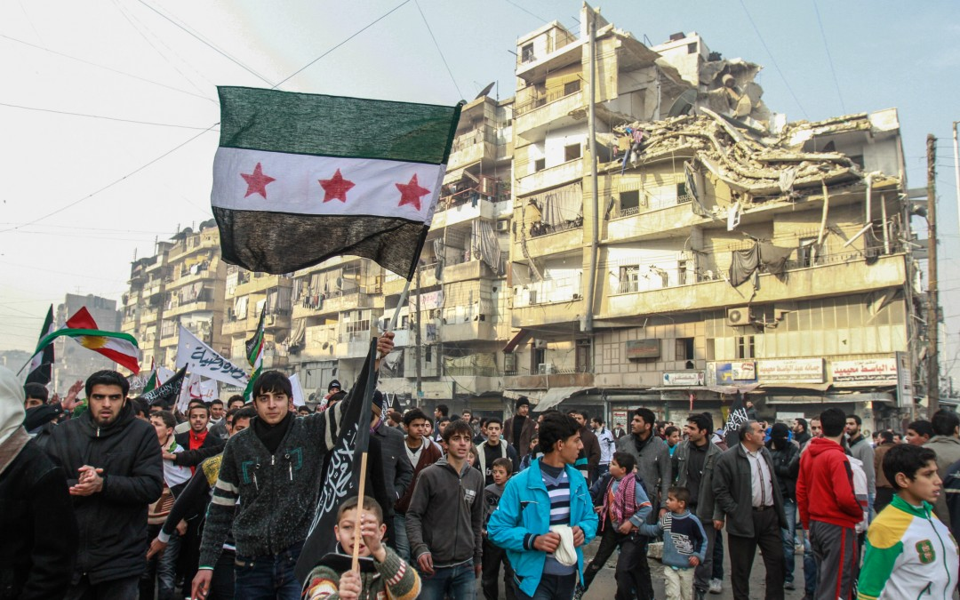 Friday protests in the streets of rebel-held Aleppo. The Syrian uprising began with peaceful demonstrations that called for a more accountable and democratic regime, after a series of brutal crackdowns in the southern city of Dara'a.